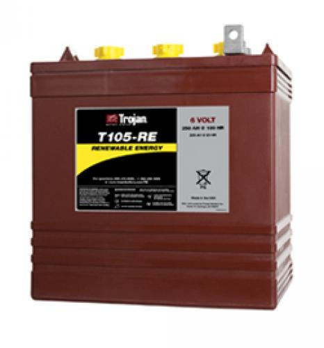 T105-RE 6V  Deep Cycle Battery         	Type   	T105-RE 	      	Weight lbs. (kg)   	67 (30)     	Dimensions inches (mm) L 	 W 	 H 10 3/8 (264) 	 7 1/8 (181) 	 11 3/4 (299) 	View Terminal Types   	  	    	 Cap